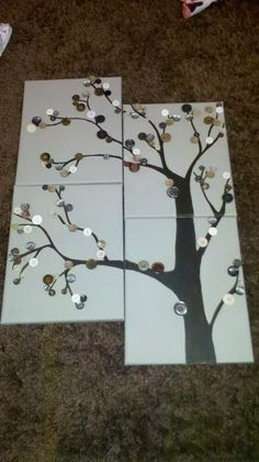 button tree, with green and white buttons. maybe some tiny pink buttons for cherry blossoms.