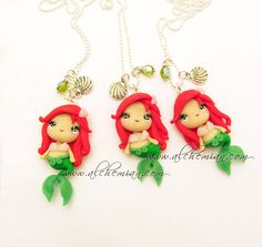 Ariel The Little Mermaid ooak necklace made in italy via Etsy