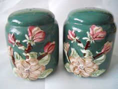Floral and Green Salt and Pepper Shakers  vintage by DEWshophere