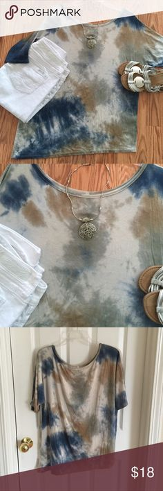 "HOST PICK!!  MY FIRST HOST PICK!! NEW, ADORABLE BLUE/BROWN/CREAM TSHIRT! Amazingly soft! Perfect amount of stretch! This will be your new ""go to"" t-shirt. Wear with white/light wash, blue, dark wash jeans or capri's! WEAR WITH SHORTS! Pair with a mini, midi and/or maxi skirt! Right side designed to be slightly longer! Tie, tuck in or neither! Wear w/leggings and belt it, or not! ENDLESS POSSIBILITIES! 24 1/2"" shoulder to hem right side, 26 1/2"" shoulder to hem left side, 24"" pit to pit, 22""…"