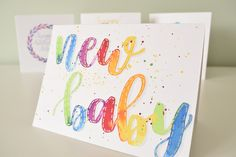 Gender neutral new baby card. Paint Cards, New Baby Cards, Wedding Calligraphy, Bullet Journal Inspiration, Gender Neutral, Painting Inspiration, Watercolour, New Baby Products, Card Ideas