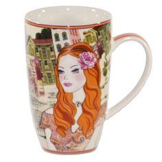 """Becher Serie """"Ladies and the City"""" orange; Maße 13 x 8 cm; Fassungsvermögen 375 ml; Porzellan; spülmaschinen- und mikrowellengeeignet"""