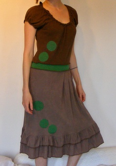 Recycled Serged T-Shirt Dress with Silk Ruffle Skirt and Applique, Womens Upcycled and Eco Summer Style, Size Medium