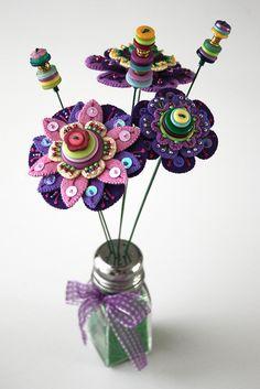 Felt Flowers in Vase No 2   Flickr - Photo Sharing!