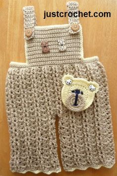 Free baby crochet pattern for dungarees http://www.justcrochet.com/