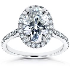 Annello by Kobelli 14k Gold 1 1/2ct Forever Brilliant Oval Moissanite and 1/3ct TDW Diamond Halo Ring