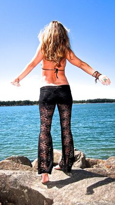sexy black lace boho beach yoga