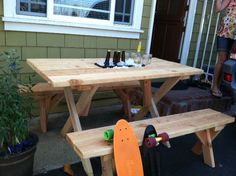 Picnic table idea put to use! Thanks Pinterest