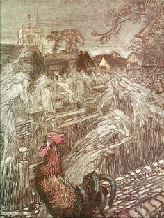 Arthur Rackham's illustration for A Midsummer Night's Dream showing ghosts returning to their graves at dawn.
