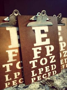 Love these eye chart clip boards!