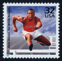 Jesse Owens from Alabama - winner of gold medal at the 1936 Olympics in Berlin, Germany. A fine moment in Olympic history indeed. Berlin Olympics, 1936 Olympics, Jesse Owens, Commemorative Stamps, By Any Means Necessary, Black History Facts, African American History, Track And Field, Stamp Collecting