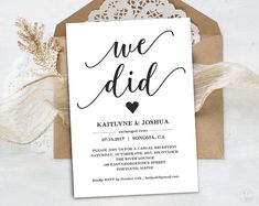 This Elopement Reception Invitation Printable Elopement is just one of the custom, handmade pieces you'll find in our save the dates shops. Elopement Party, Elopement Reception, Wedding Reception Invitations, Reception Party, Elopement Ideas, Wedding Venues, Reception Ideas, Wedding Ceremonies, Casual Wedding Reception