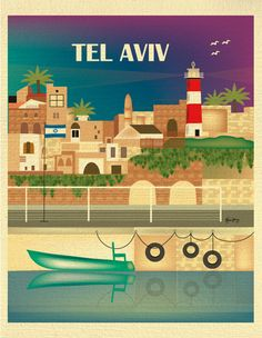 Tel Aviv, Israel Skyline Destination Print - Travel Wall Art - for Home, Office, and Nursery - style E8-O-TEL by loosepetals on Etsy