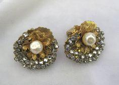 Rhinestones & Pearls Earrings Vintage Miriam Haskell