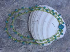Aqua and Lime Green Beads Crocheted on Lime Green Bead Cord Crocheted Beaded Wrap Necklace by WaterhouseCo on Etsy