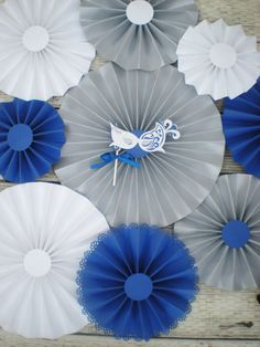 Masquerade paper fans set silver royal blue and by DellaCartaDecor