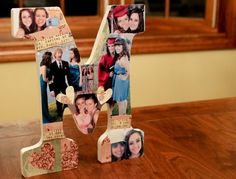 long distance friendship gifts, wooden cutout of the letter M, decorated with photo cutouts and hearts