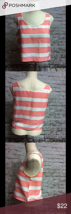 "BB Dakota crop top small stripe Salmon white Gorgeous too in lightweight polyester type fabric, great for spring break or summer! Chest is 18"" underarm to underarm, length is 18"". In great condition. BB Dakota Tops Tank Tops"