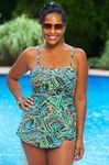 This plus size swimsuit comes in a striking tropical pattern and features slimming details like control lining and a faux sarong. The Island Bandeau Sarong 1 Pc Swimsuit Style #3211 is an exotic addi