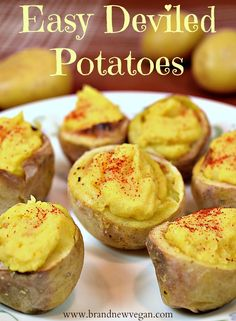 These easy Deviled Potatoes are the perfect snack for parties, potlucks, or holidays. Easy to make and 100% fat-free, they are a healthier version of everybody's favorite.