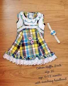 Cotton Ruffle Baby Frock with matching headband in blue and white