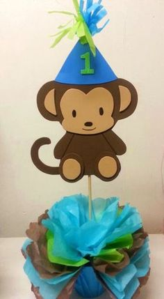 Adrianas Creations BIRTHDAY THEME CENTERPIECES cakepins.com Monkey Centerpiece, Safari Centerpieces, Birthday Party Centerpieces, Monkey Birthday Parties, Baby Birthday, Monkey Crafts, Safari Theme Party, Kids Party Decorations, Baby Party