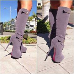Lavender high heels boots