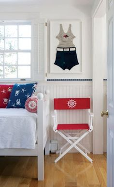 Hydrangea Hill Cottage: LOVE the framed vintage swim suite in blue and white  @TheDailyBasics ♥♥♥