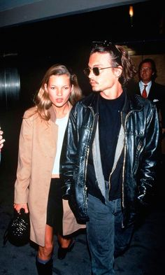 Kate Moss With Hollywood Superstar Boyfriend Johnny Depp, At A Film Premiere In New York, 1994.