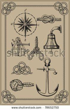 Nautical elements on vintage background. drawing woodcut method.