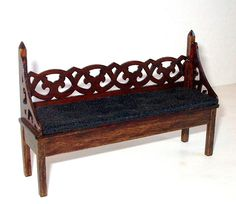 Gothic Bench with Cushion, Medieval Dollhouse Miniature 1/12 Scale, Hand Made by CalicoJewels on Etsy https://www.etsy.com/listing/216741432/gothic-bench-with-cushion-medieval