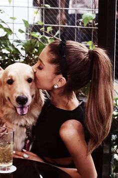 ariana grande, bae, brown, cutie, dog, kissing, ponytail, big puppy