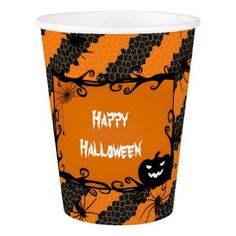 Happy Halloween in Orange and Black Pumpkin Party Paper Cup - home gifts ideas decor special unique custom individual customized individualized