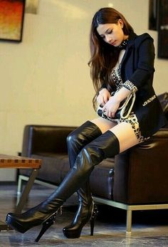 Asian girl in gorgeous black thigh boots #highheelbootsankle