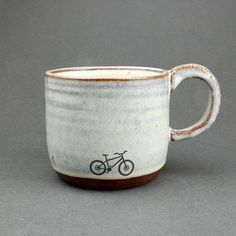 Blue Ceramic Mountain Bike Mug by JuliaSmithCeramics on Etsy