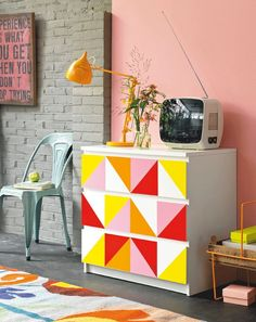 I'm loving this retro Ikea hack- DIY Malm dresser makeover in a vintage and funky style. Simple & quick DIY makeover- masking tape, paint, brushes and imagination and you're on your way! Diy Dresser Makeover, Furniture Makeover, Diy Furniture, Geometric Furniture, Furniture Plans, Ikea Makeover, System Furniture, Dresser Makeovers, Furniture Chairs