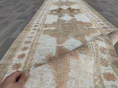 3x13 Long runner rug, Turkish vintage runner, Neutral rug runner, Faded runner, Runner rug for kitchen-hallway-corridor, Beige runner carpet