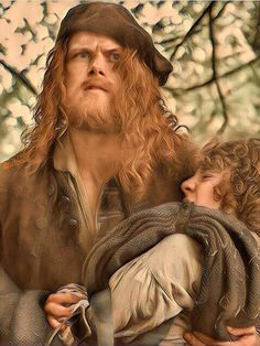 Fergus hand was cut off by a redcoat and Jamie is carrying him Jenny home in Lallybroch