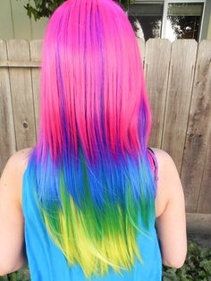 Pink blue yellow dyed rainbow hair