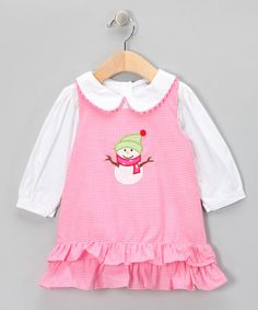 Take a look at this Princess and the Pauper Pink Gingham Snowman Jumper & Top by Timeless Attire: Kids' Smocking on #zulily today!