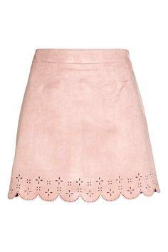 Imitation suede skirt - Old rose - Ladies | H&M GB