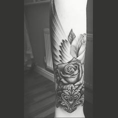 Half sleeve rose and wing tattoo im so in love with my new tatt ❤️❤️