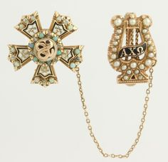 c1900 Opal Sigma Nu & Alpha Chi Omega  - Fraternity Sorority 14k Gold Pins Badge