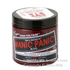 http://www.beauba.com/products/detail.php?product_id=7483 Manic Panic Hair Color Raven 118ml. #HairDyeRelatives #HairManicure  This herb containing coloring treatment is not formulated with any alkali agent that causes damage to hair, so it can be used on even damaged hair. It is also blended with natural herbs and beeswax for shine and a good texture.