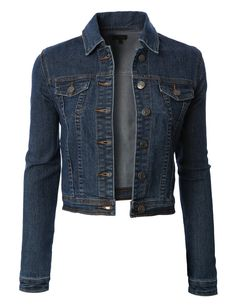 Womens Classic Cropped Long Sleeve Denim Jean Jacket with Pockets