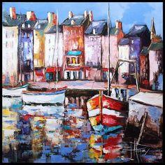 Port d'Honfleur (Peinture),  50x50 cm par Olivier PFLEGER Peinture à l'huile sur toile réalisé au couteau monté sur châssis à clef