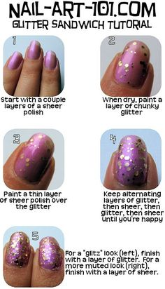 Glitter Sandwich Tutorial- pink nailpolish with Deborah Lippman Nail polish