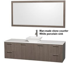 """WYNDHAM COLLECTION Amare 72"""" Wall-Mounted Bathroom Single Vanity Set With Vessel Sink - Gray Oak"""