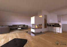 Wohnzimmer kamin ~ Fertighaus am hang helles wohnzimmer mit dreiseitigem kamin