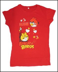 Fashion Top for girls with the popular android game Angry Bird printed on Red color top.  It is the pure cotton top and looks trendy for young girls who wish to look something different.